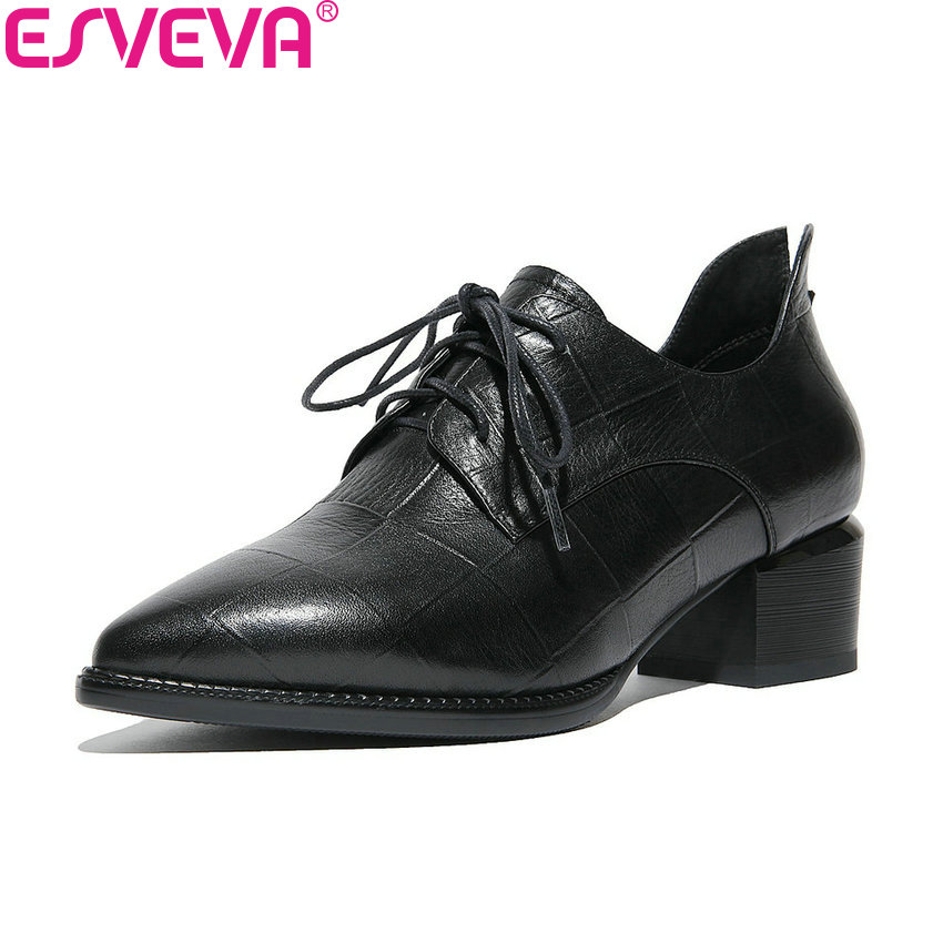 ESVEVA 2018 Women Pumps High Quality Sewing Western Style Pointed Toe Cow Leather PU  Square Med Heels Ladies Shoes Size 34-42 comfy women pointed toe square high heels office shoes woman flock ladies pumps plus size 34 40 black grey high quality