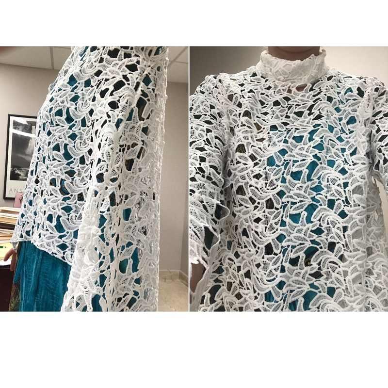 Женские кружевные Открытые Рубашки с длинным рукавом, асимметричный стоячий воротник, женские свободные блузки 2019 летние женские элегантные однотонные пляжные Топы