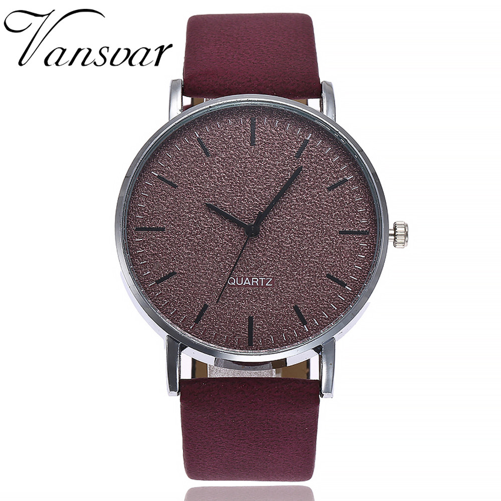 Leather 7 Colors Grind Clock Dial Clock Wristwatch