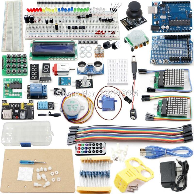 UNO Projet La Plus Complete Starter Kit pour Ar-duino Mega2560 UNO Nano avec Tutoriel, UNO R3, LCD1602, Alimentation, Servo, ect
