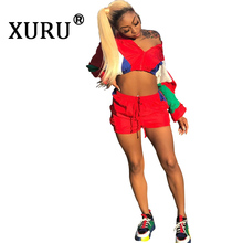 XURU new hot womens color matching sexy jumpsuit shorts two-piece contrast stitching loose casual fashion
