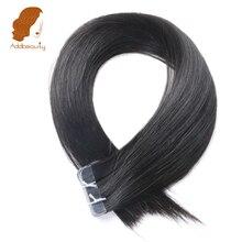 Addbeauty Клейкие ленты в волос утка кожи 40 г/упак., натуральный черный 100% бразильский Прямо Реми Пряди человеческих волос для наращивания 20 шт./компл.