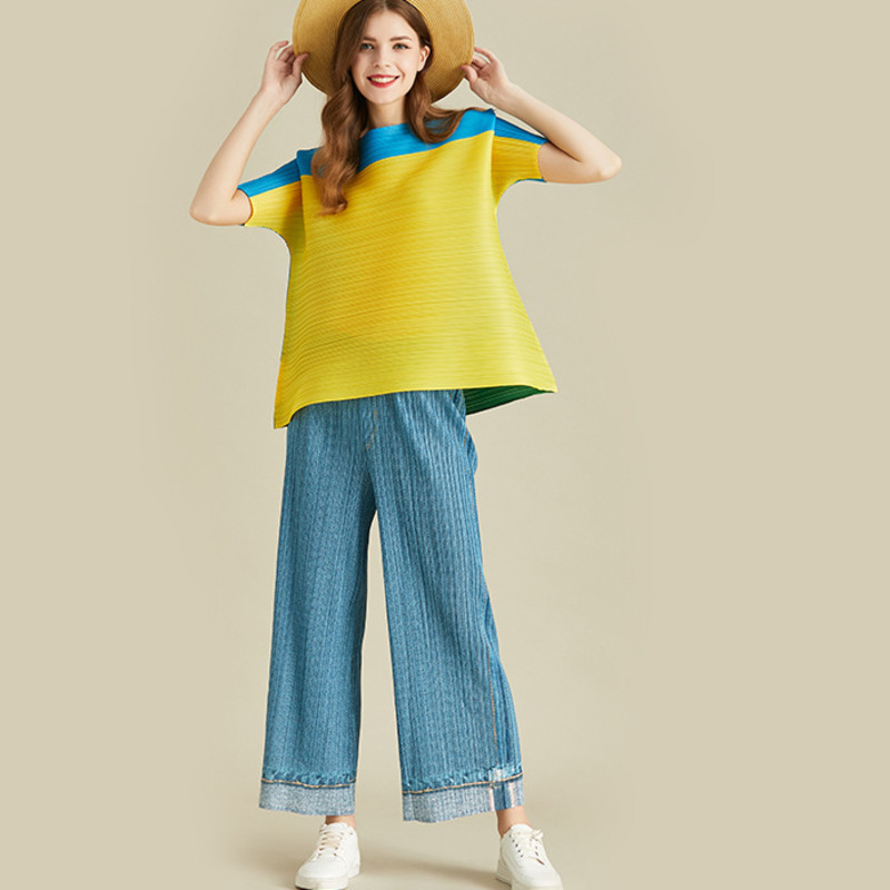 LANMREM 2020 New Round Neck Pleated Fold Vintage Contrast Colors Short Sleeve Shirt And High Waist Wide Legs Pants Set WH71507