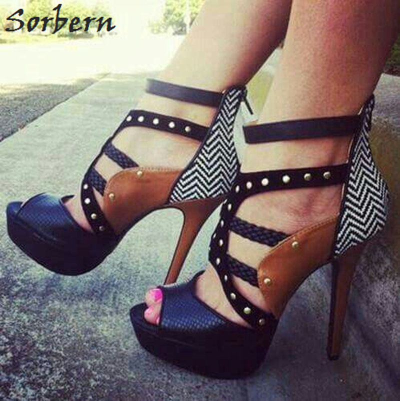 Sorbern Punk Style Women Sandals Gladiator Style Shoes Ladies High Heels Rivets Straps Woman Shoes 2018 Summer Open Toe