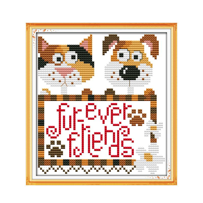 Cross stitch 11CT 14CT cartoon suite embroidery, two puppies forever friend animal pattern features handicrafts painting