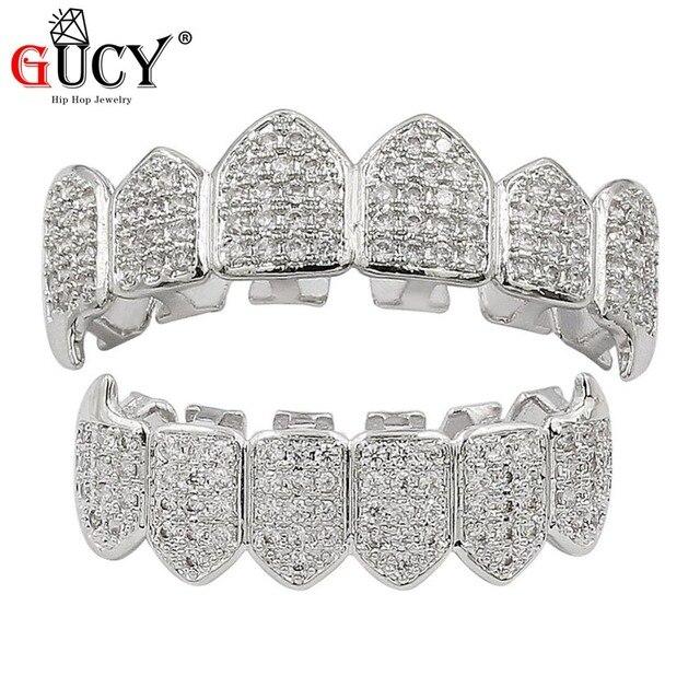 GUCY HipHop or dents Grillz haut et bas tous les grils glacés dentaire Vampire croc dents casquettes fête dent bijoux Halloweens cadeau