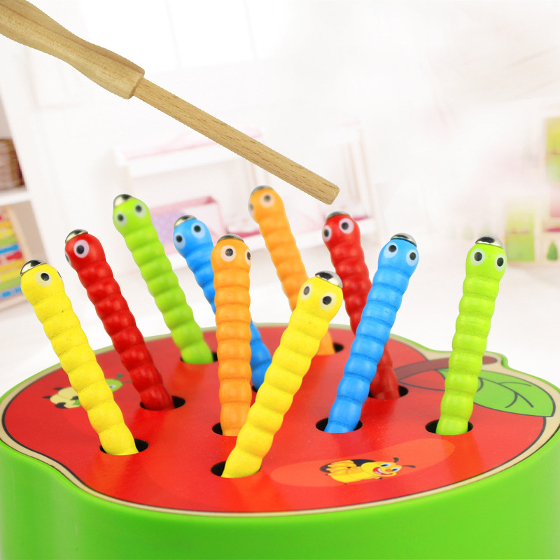 Early childhood building blocks magnetic fishing catch catch insects game children's wooden puzzle caterpillar toys