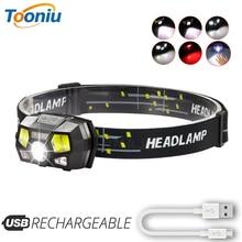 Super bright  LED Headlamp Built-in inductive sensor USB rechargeable 6 lighting mode LED Headlight for running, fishing, etc.