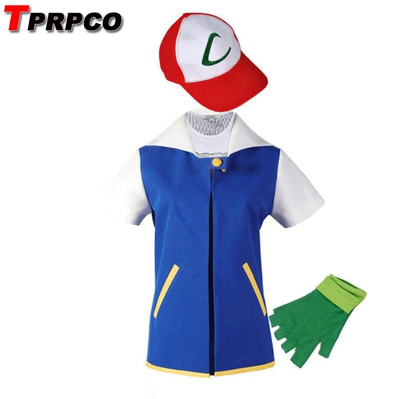 TPRPCO Pokemon Ash Ketchum Cosplay Costume Blue Jacket + Gloves + Hat Ash Ketchum Costumes  NL1551