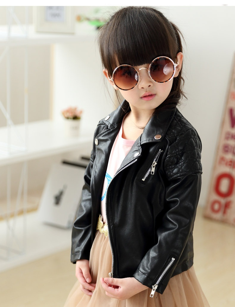 Leather jackets for kids - New Designer 2016 Autumn Cool Child Clothing Girl Side Zipper Short Design Motorcycle Leather Jacket Outerwear Kids Pu Coat