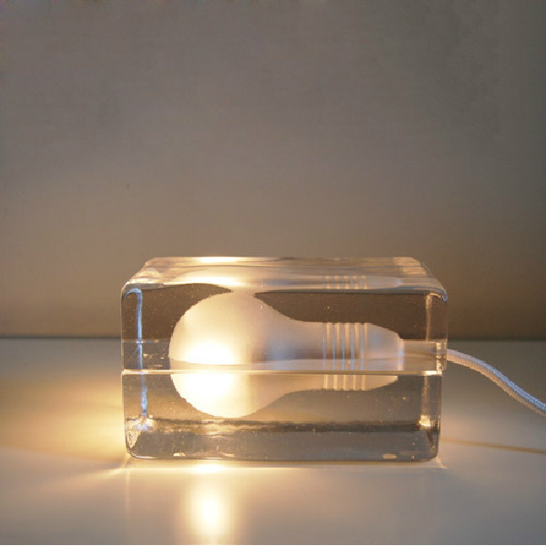 Modern Simple Ice Block Crystal Glass Table Lamps Bedroom