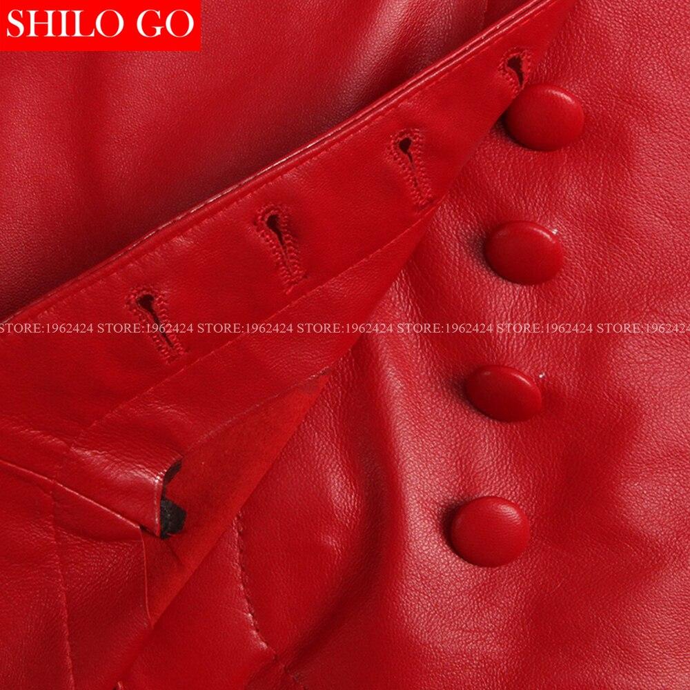 Haute Qualité Irrégulière Mince Femmes Jupe En Cuir Taille Peau rouge De Mode Mouton 3xl 2017 Pantalon Boutons Était Printemps Hem Rouge Noir 6wqIEt