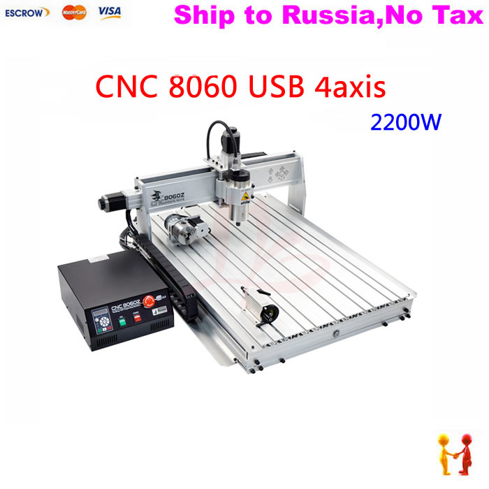 (NO TAX TO Russia) High precision 2.2KW Powerful Brushless frequency spindle 8060 cnc machinery with USB ball screw rotary axis no tax to russia 4axis cnc metal engraving machine 8060 rotary axis 2 2kw spindle ball screw wtih mach3 remote control