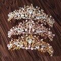 Новое Прибытие Великолепная многоцветный Кристалл цветок Принцесса Диадема Корона Мода Золотой Диадемы для Невесты Свадебные аксессуары Для Волос