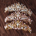 New Arrival Gorgeous multicolour Crystal flower Princess Crown Fashion Golden Tiaras for Bride Diadem Wedding Hair accessories