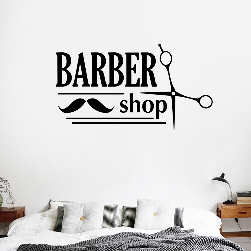 Shave sticker gentleman barber shop decal hair scissors for Stickers design salon