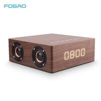 FDGAO Portable Wooden Wireless Bluetooth4.2 Speaker Stereo bass Subwoofer Soundbar MP3 Music player Loudspeaker Clock Sound Box