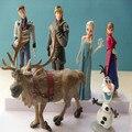 Saling quente PVC Elsa ação e Toy figuras boneca brinquedos princesa Elsa Anna Hans Kristoff Sven Olaf figuras crianças brinquedos 6 pçs/set 4 - 11 cm