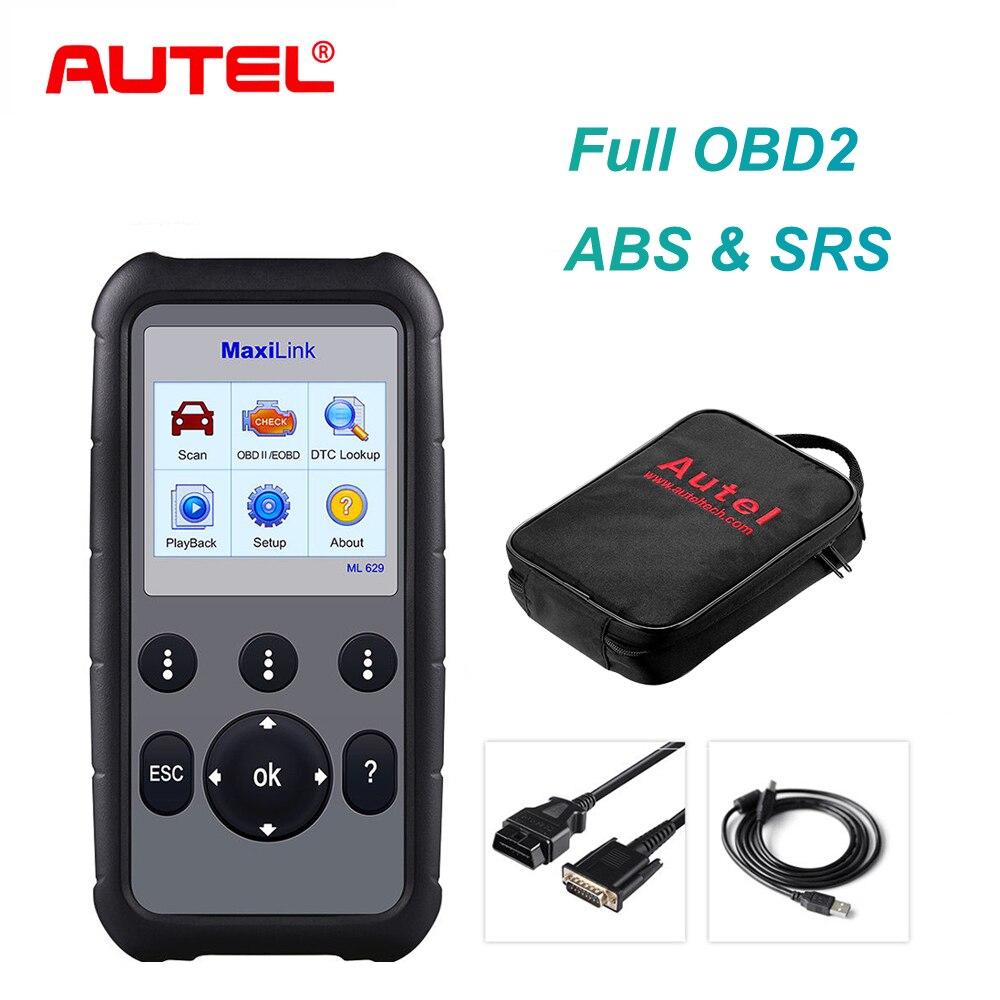 Autel ML629 сканер OBD2 считыватель кодов + ABS/SRS Инструмент для диагностического сканирования автомобиля, выключает свет двигателя (MIL) и ABS/SRS