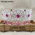 Luxo Grande concurso miss mundo de alta qualidade coroa círculo completo strass rodada completa coroa tiara coroa cor de rosa para as mulheres