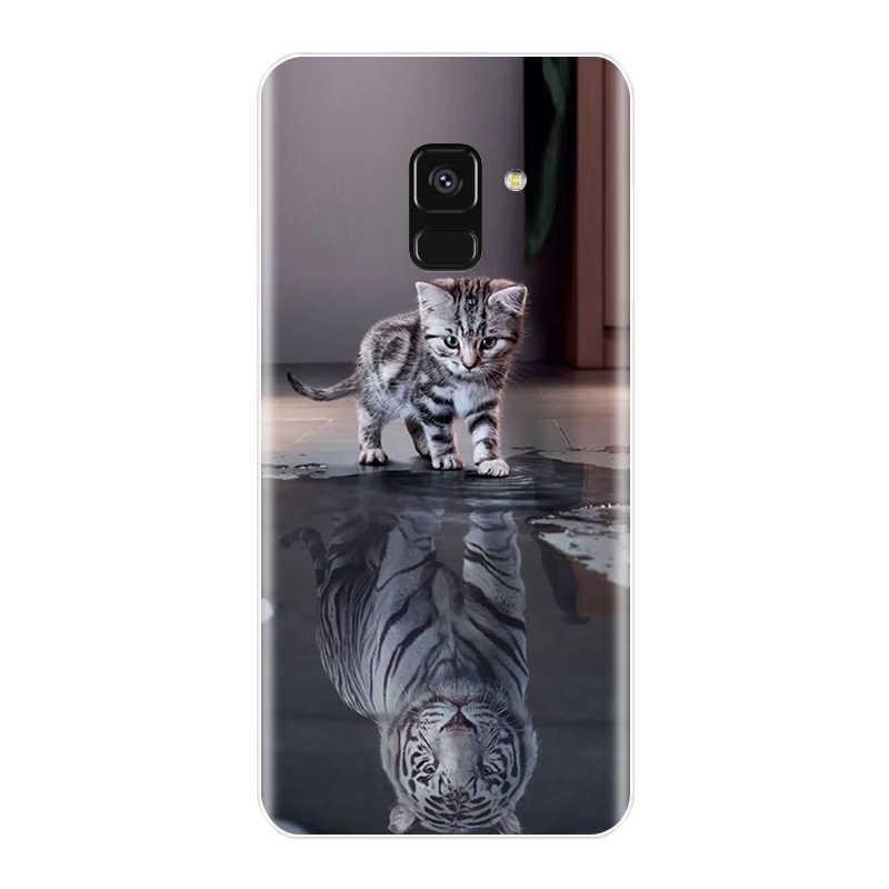 Cassa del telefono Per Samsung Galaxy A6 A8 Più 2018 Molle Del Silicone TPU CASSA Sveglia del Gatto Dipinto Della Copertura Posteriore Per Samsung A3 a5 A7 2016 2017 Caso