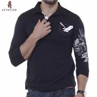 Mens Polo Shirt Brands 2016 Male Long Sleeve Fashion Casual Slim Solid Eagle Printing Polos Men