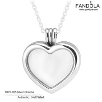 Floating Heart Locket Necklace 925 Sterling Silver Chain 60CM Charm Pendant Necklaces for Women Original Silver 925 Jewelry