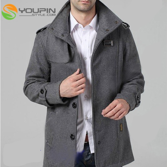 7f285914a69e3 DZ88 Fashion Men s Funnel Neck Wool Blends Military Coat Jacket Trenchcoat  Tops
