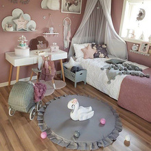 NEW Rounded Lace Pure Cotton Playmat Children's Room Decorate Game Mat Baby Soothing Blanket 3 Colors Avaliable