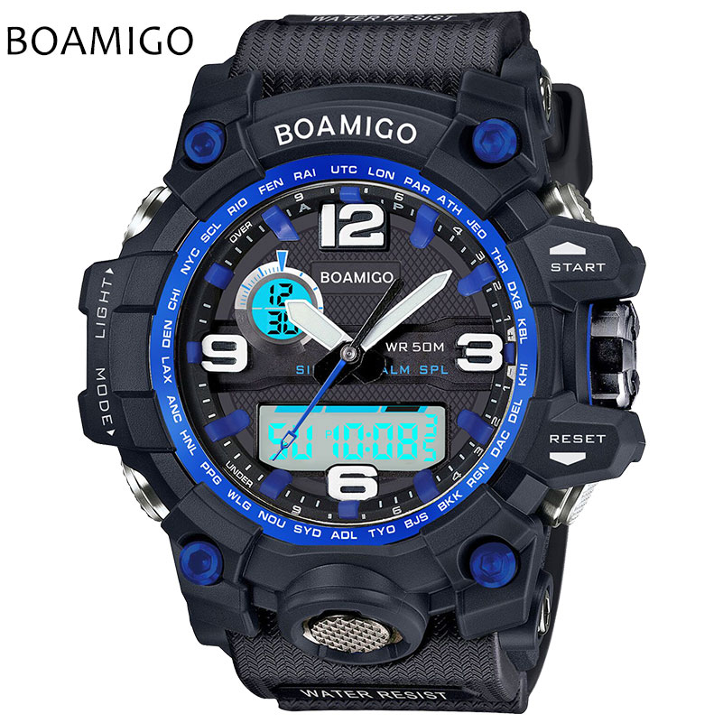 BOAMIGO Brand Men Sport Watches LED Digital Wristwatch Military Analog Quartz Watch Rubber Blue 50M Waterproof Reloj Hombre