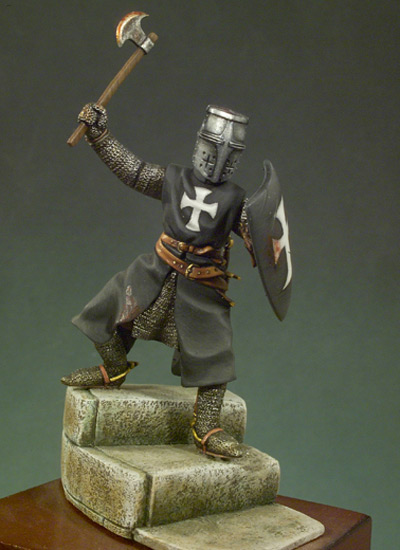 Assembly Unpainted Scale 1/32 54mm Knight (1280 year) standing - 54mm Historical toy Resin Model Miniature Kit