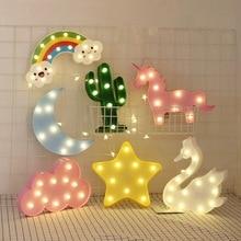 LED Lamp Flamingo Unicorn Night Light Pineapple Cactus Star Luminary Wall decorations Lighting Gifts Christmas holiday birthday