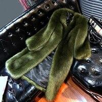 Long Fox fur Jacket Women 2019 New Winter Coat Women Faux Fox Fur Coat Plus Size Women Stand Collar Long Sleeve Faux Fur Jacket