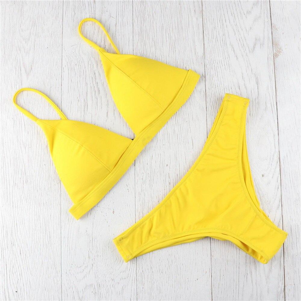 HTB1Ha9JDQSWBuNjSszdq6zeSpXad MUQGEW 2019 Mid Waist New Summer Women Two Pieces Bikini Set Solid High Quality Padded Push Up Swimwear Brazilian Bikini #1210
