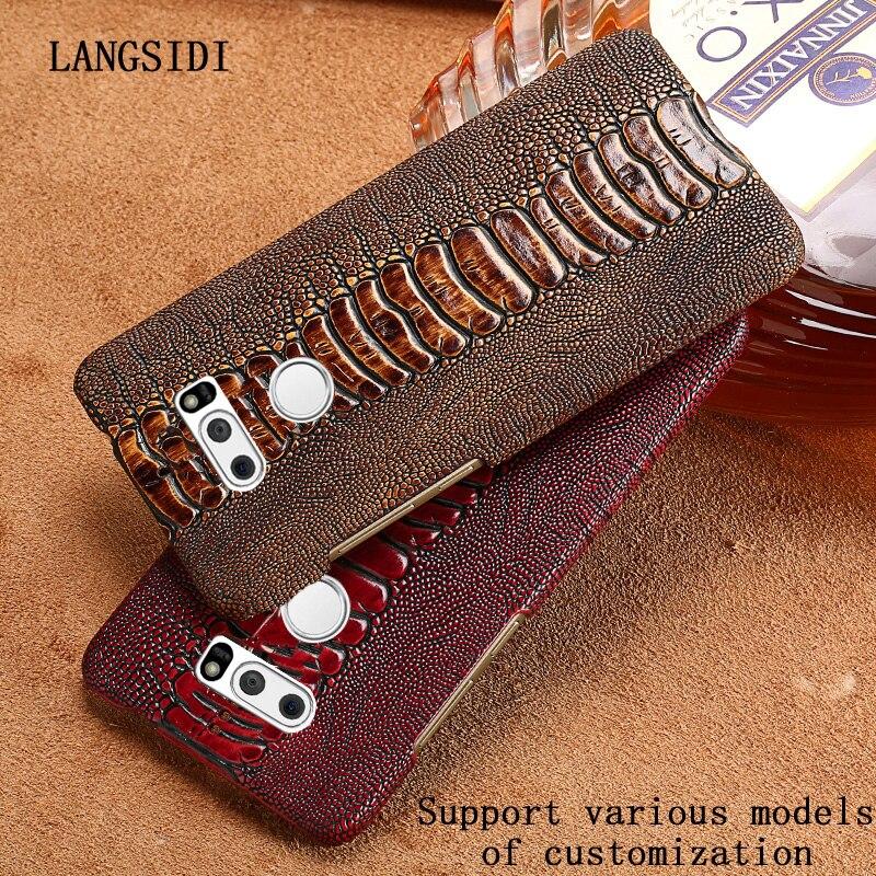 Case For LG V30 V40 V50 Case Genuine Leather Luxury Ostrich Leg Skin Texture Cowhide Cover For LG G5 G6 G7 G8S Fundas