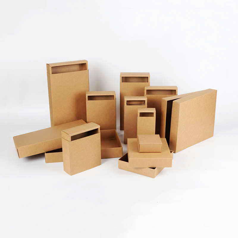 10pcs/lot Small & Large Many Sizes Brown Drawer Cardboard Boxes Paper Handmade Soap Gift Jewelry Packaging Kraft Paper Boxes 9/5
