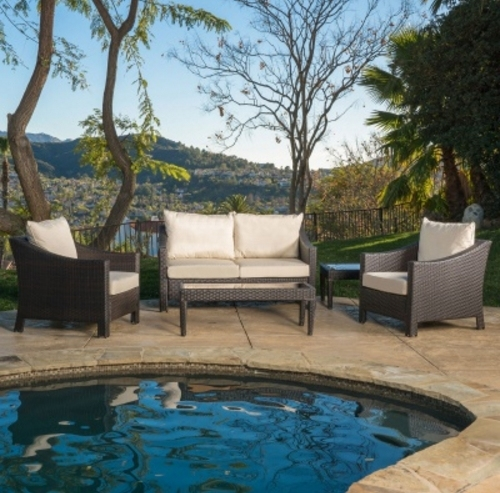 Venta caliente Muebles de Jardín asequible patio ocio sofá mimbre sofá set