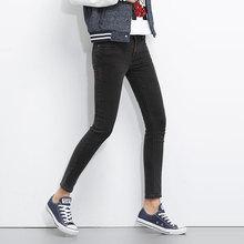 Новый Плюс размер женщины Черный Серый Полная Длина джинсы женские карандаш узкие брюки Джинсы Женские панелями Джинсовые Брюки Упругие Джинсы 5XL