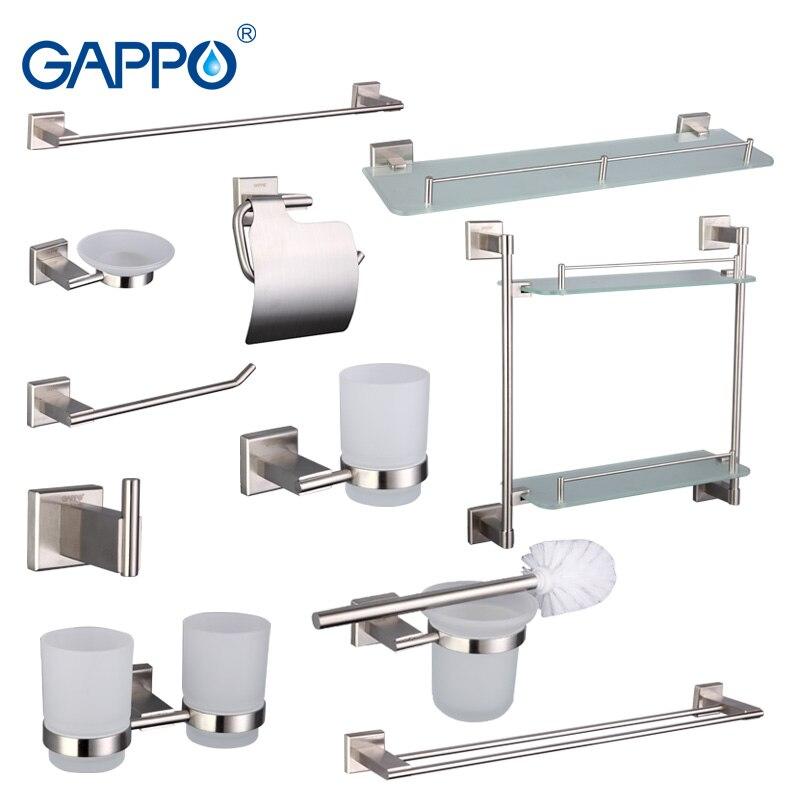 Gappo acessórios do banheiro barra de toalha cômoda clipe suporte papel escova de dentes toalha banho volta anel conjuntos banho g17t11