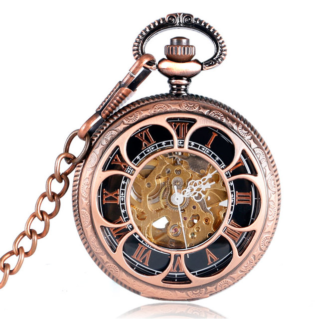 Retro Copper Red Automatic Mechanical Pocket Watch Hollow Flower Cover Luxury Sk