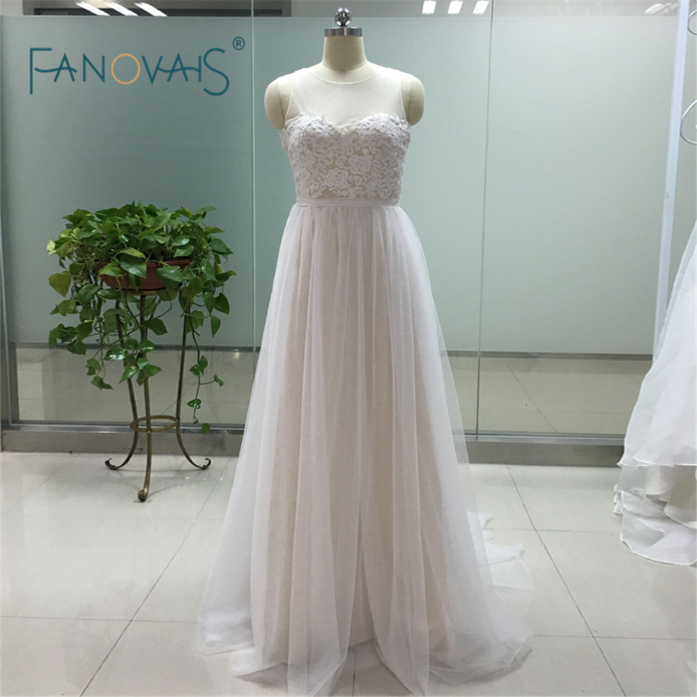 Simple Sleeveless A Line Cheap Beach Wedding Dress 2016 Pretty Bridal Champagne Lining Lace Wedding Gown Bride Dress ASAW82