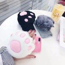 maosenguoji Hand warm cute Cat claws Plush hand strap Mobile Phone Case for iphone6 6s 6plus 7 7plus 8plus X fashion Couple case