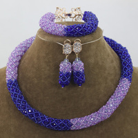 Gorgeous Blue and Lilac Beads Choker Necklace Set Fashion Rope African Jewelry Set Christmas Free Shipping WD848