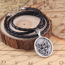 "nordic viking Celtic knot wolf leather pendant necklace ""live bold trust your instincts""(China)"