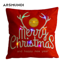 Simple LED Flax Printed Merry Christmas Pillowcase Woven Decorative Fashion Deer Snowman Pillow Case 45cm*45cm