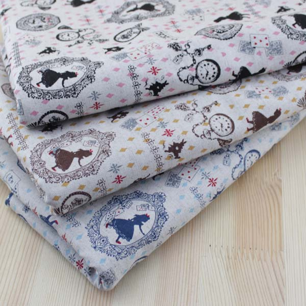 Patchwork Forest Picnic Wildlife Linen Look Cotton Fabric