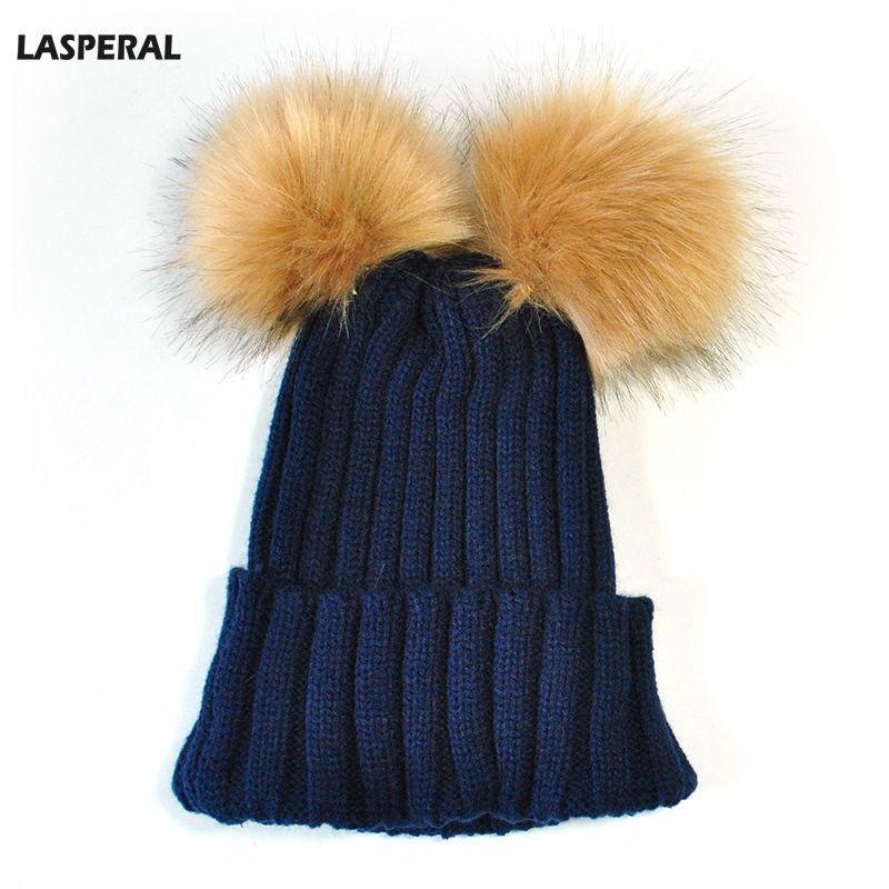 LASPERAL Fashion Double Faux Fur Pompom Hat Women Winter Handmade Knitted Caps  Two Pom Poms Skullies Beanies Girls Female Cap 72538b8bba7