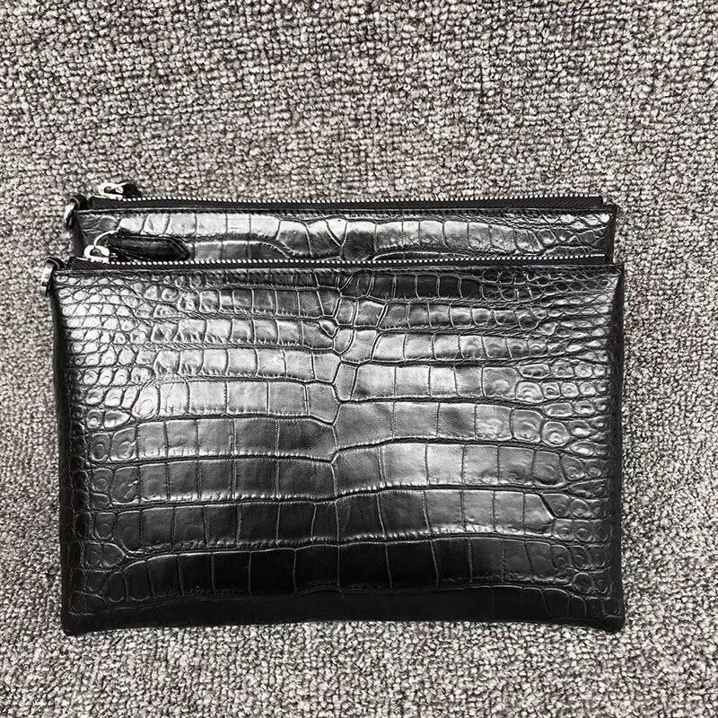 Genuine Crocodile Belly Skin Zipper Closure Men Black Thin Envelop Clutch Purse Wristlets Bag Alligator Leather