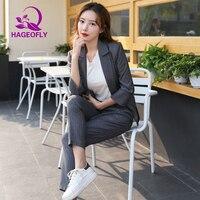 New Two Piece Suits Women Gray Black Striped Pants Blazers 2019 Korean Business Work Office Jacket Pants Women's Suit Female