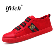 Купить с кэшбэком 2018 Hot Sale Young Boy Casual Shoes Black Red Casual Brand Men Shoes Comfortable Lazy Shoes Male Slip-on Men Casual Sneakers